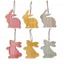 Wooden rabbit enamel to hang, 2 motifs, 3 colors,